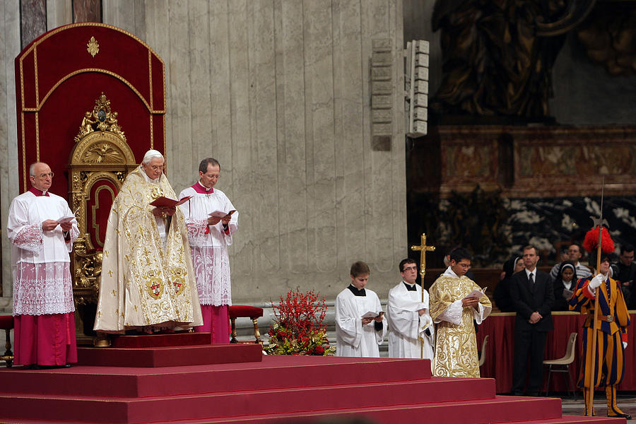 Pope Benedict Xvi Celebrates First Vespers And Te Deum Prayers by Franco  Origlia
