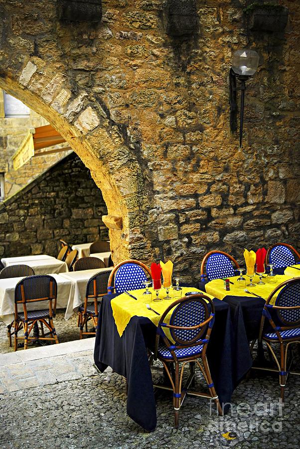 Sarlat Photograph - Restaurant Patio In France by Elena Elisseeva