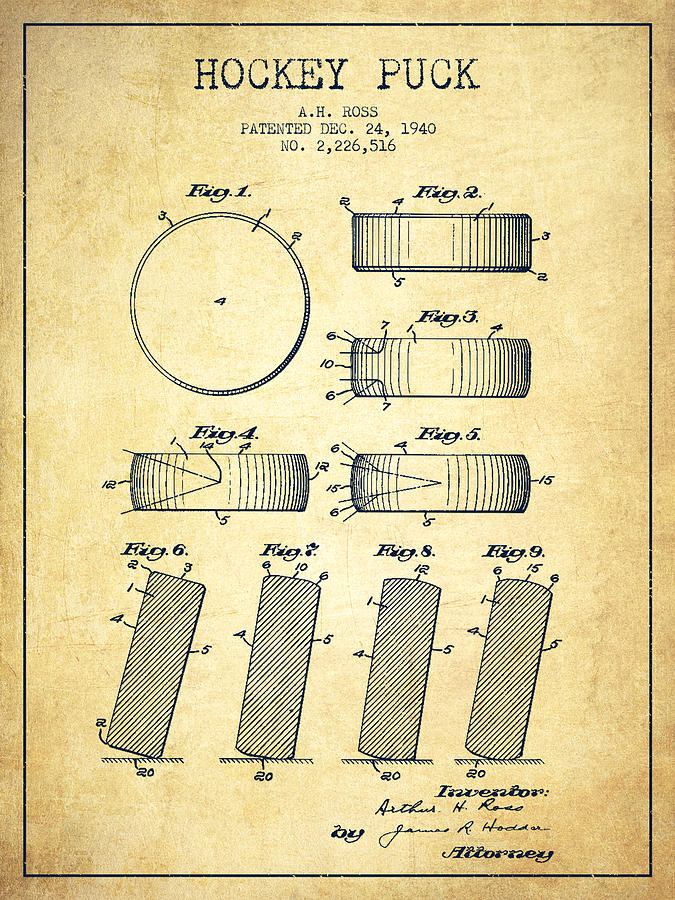 Roll Prevention Hockey Puck Patent Drawing From 1940 Drawing