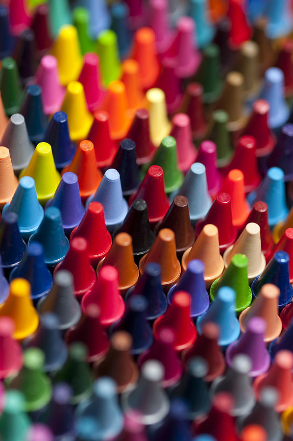 Rows Of Multicolored Crayons Photograph