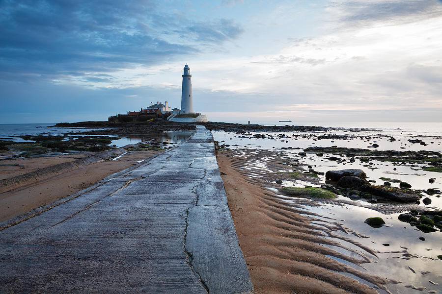 Whitley Photograph - Saint Marys Lighthouse At Whitley Bay by Ian Middleton