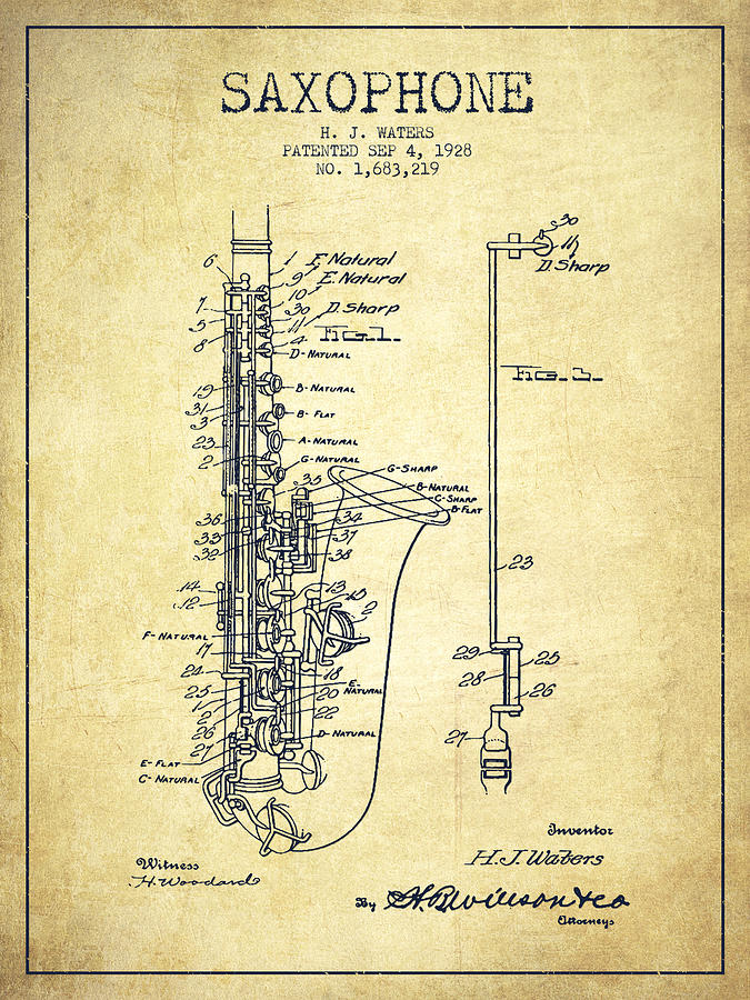 Saxophone Drawing - Saxophone Patent Drawing From 1928 by Aged Pixel