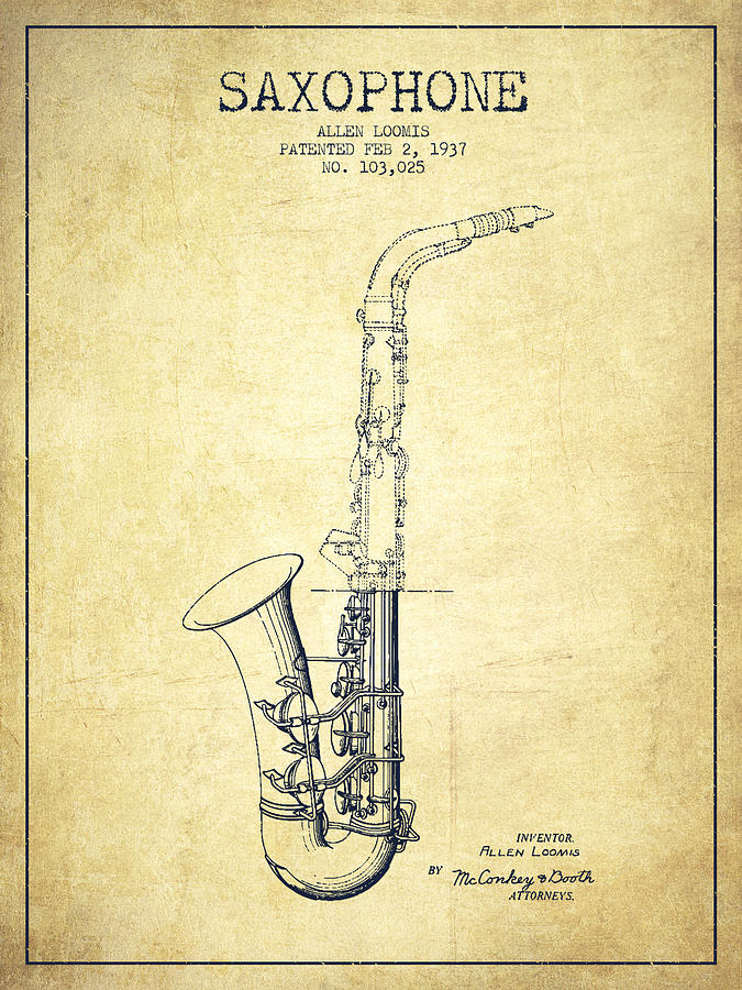 Saxophone Patent Drawing From 1937 - Vintage Digital Art by Aged Pixel