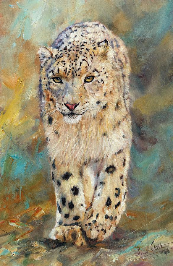 Snow Leopard Painting - Snow Leopard by David Stribbling