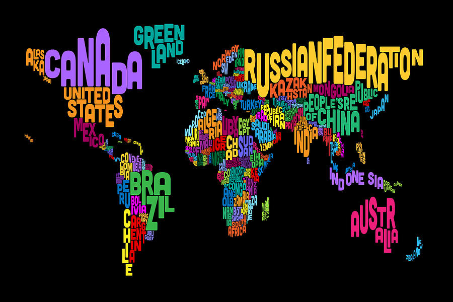 Text map of the world map digital art by michael tompsett map of the world digital art text map of the world map by michael tompsett gumiabroncs Image collections