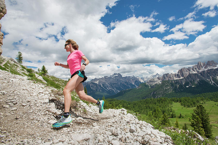Horizontal Photograph - Trail Running At The Cinque Torri Area by Marcos Ferro