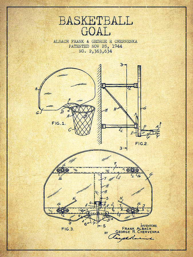 Fabulous Vintage Basketball Goal Patent From 1944 Drawing by Aged Pixel TV29