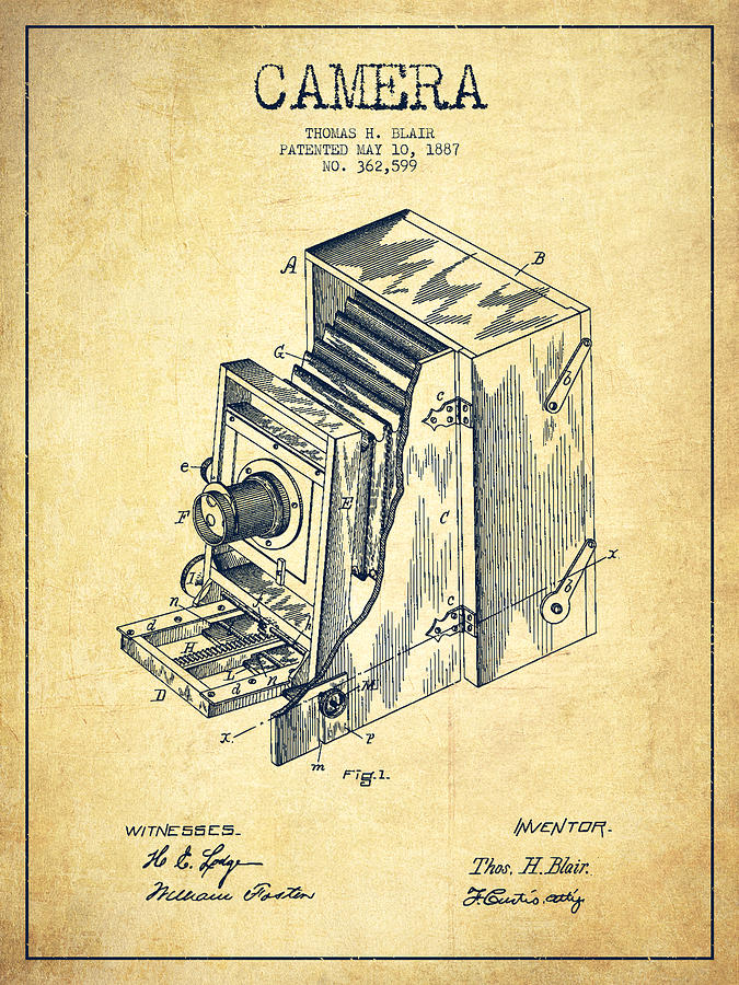 Vintage Camera Patent Drawing From 1887 Digital Art By