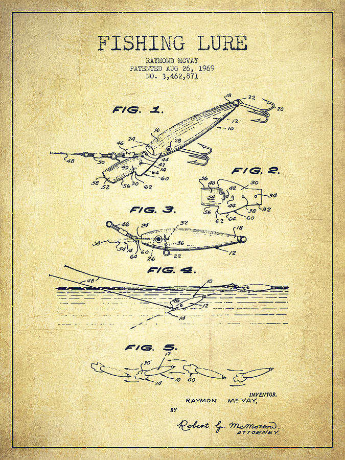 Fishing Tackle Drawing - Vintage Fishing Lure Patent Drawing From 1969 by Aged Pixel