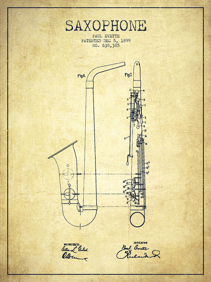 Saxophone Patent Drawing From 1899 - Vintage Digital Art by Aged Pixel
