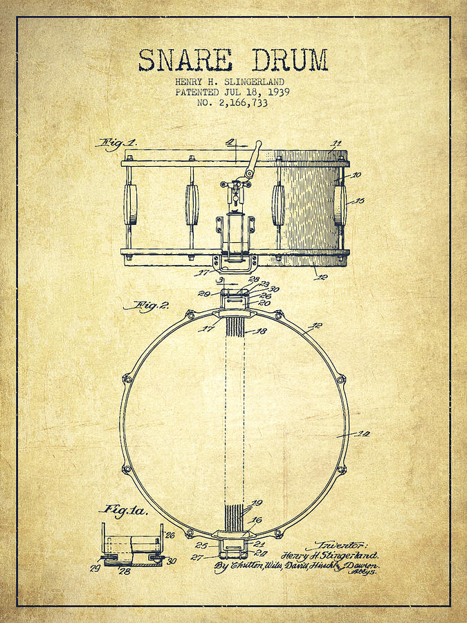 Snare Drum Patent Drawing From 1939 Vintage Digital Art