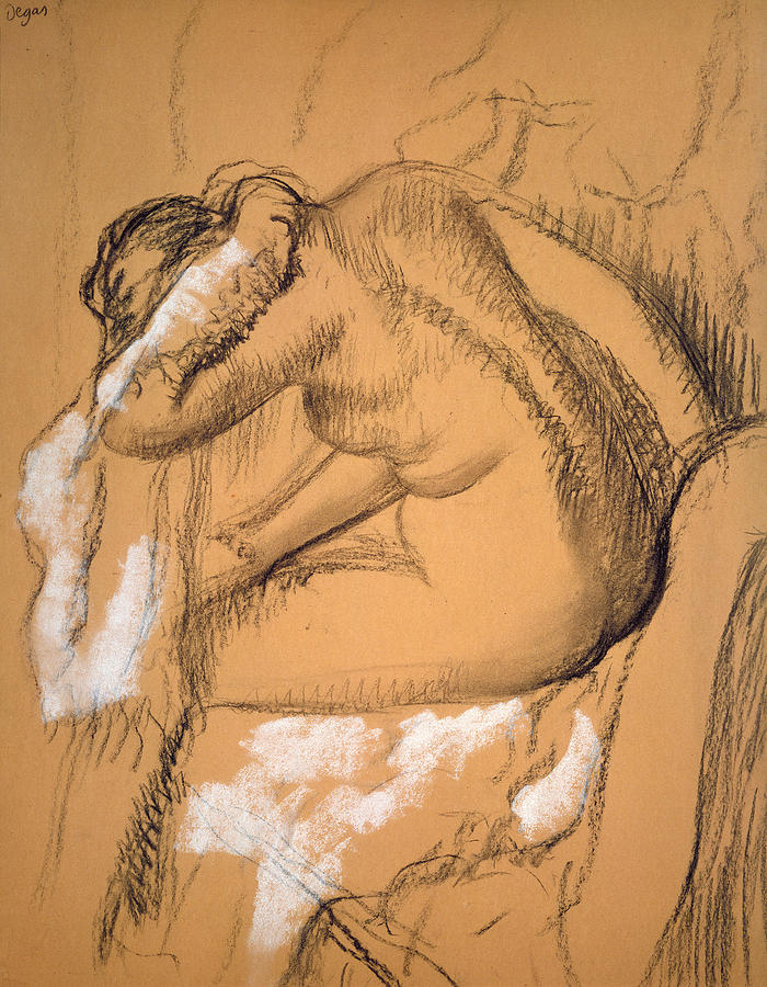 Woman Drying Herself  Drawing by Edgar Degas