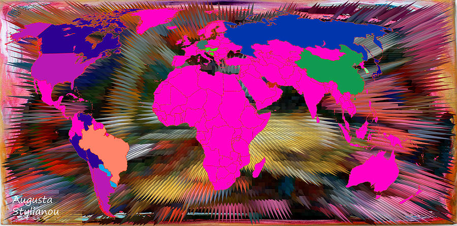 World Map Digital Art - World Map And Human Life by Augusta Stylianou