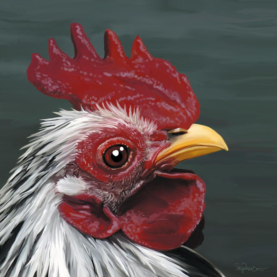Chicken Digital Art - 50. Just Head by Sigrid Van Dort