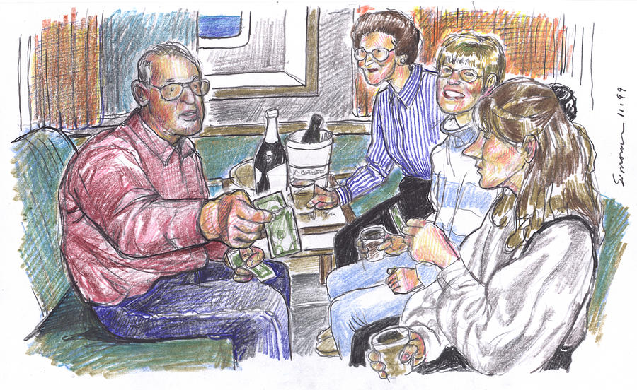 Family Drawing - 50th Anniversary Cruise by Douglas Simonson