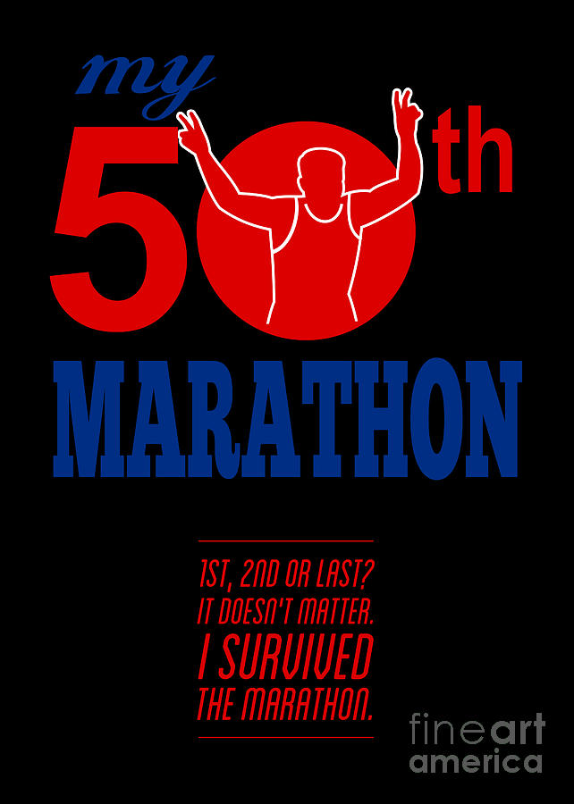 Poster Digital Art - 50th Marathon Race Poster  by Aloysius Patrimonio
