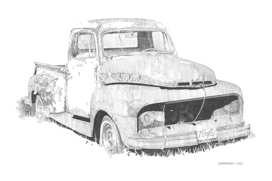 Pen And Ink Drawing - 53 Ford by Paul Shafranski