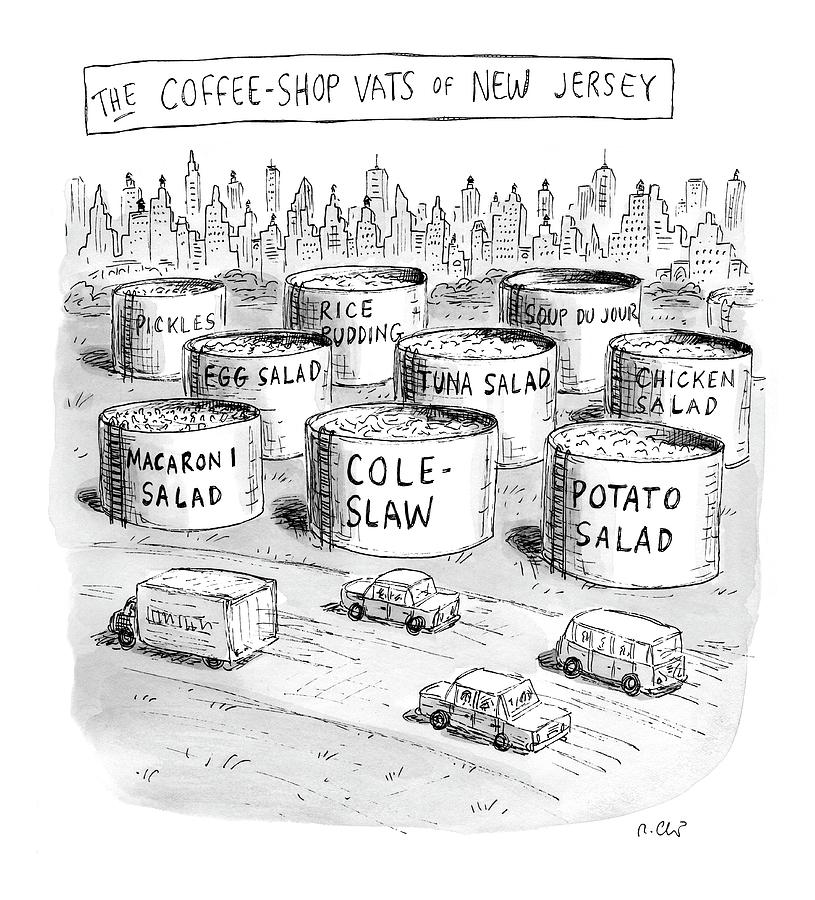 The Coffee Shop Vats Of New Jersey Drawing by Roz Chast