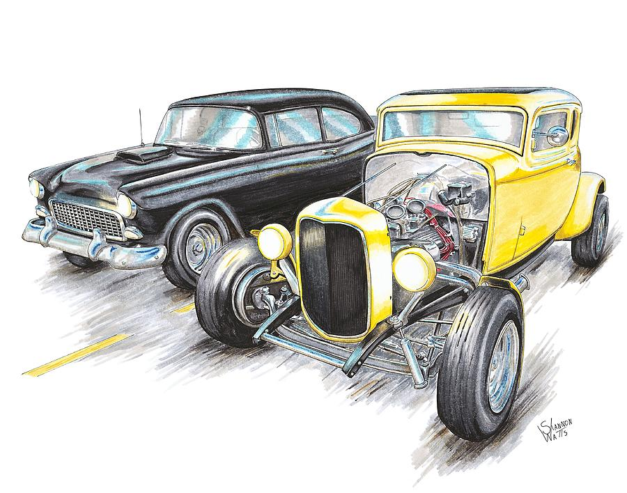 55 Chevy 32 Ford Racing Drawing By Shannon Watts