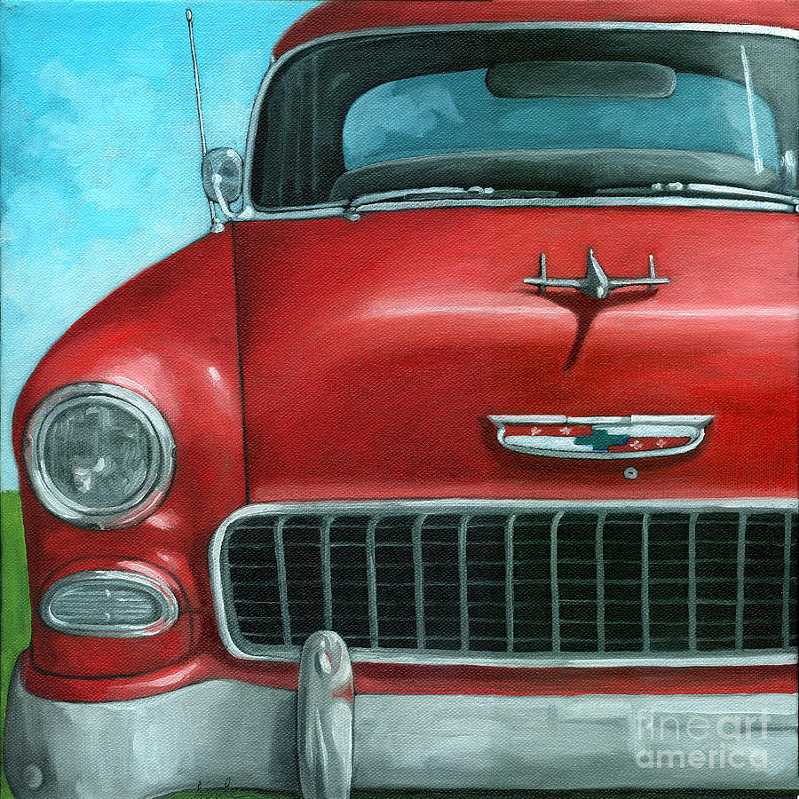 Car Painting - 55 Vintage Red Chevy by Linda Apple