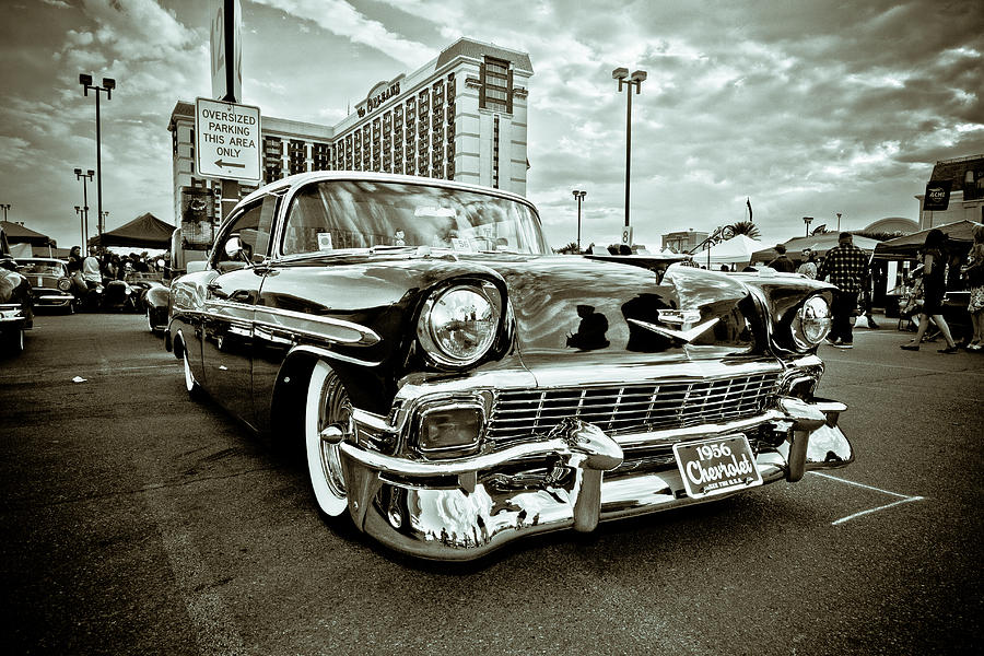 Black 7 White Photograph - 56 Chevy by Merrick Imagery