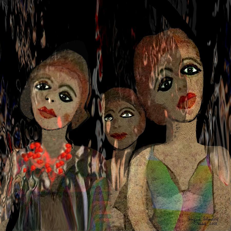 Girl Digital Art - 562 - Three Young Girls   by Irmgard Schoendorf Welch