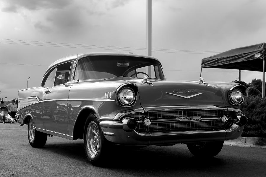 1957 Photograph - 57 Chevy Bel-aire In Bw by Don Durante Jr