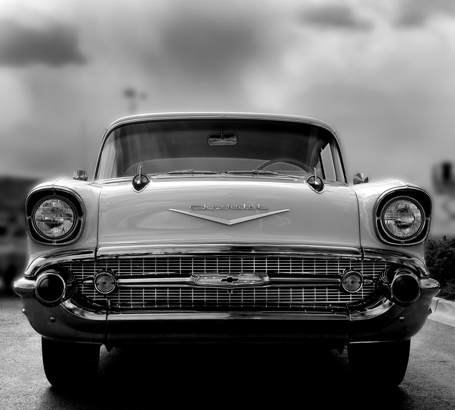 1957 Photograph - 57 Chevy Full Frontal In Bw by Don Durante Jr