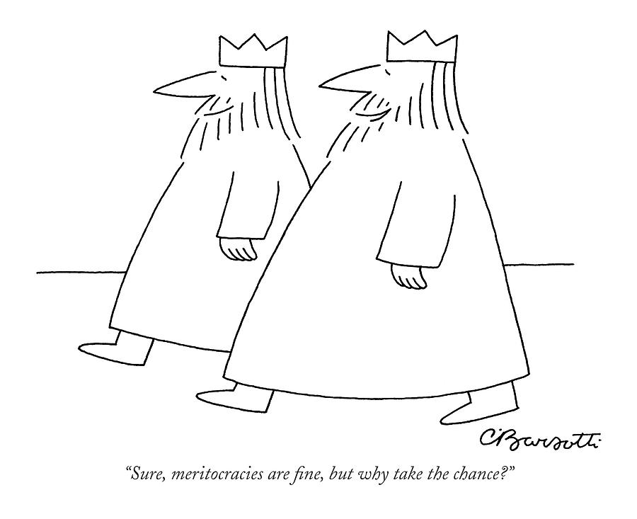Sure, Meritocracies Are Fine, But Why Take Drawing by Charles Barsotti