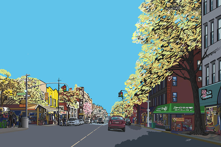 Landscape Digital Art - 5th Ave And Garfield Park Slope Brooklyn by James  Mingo