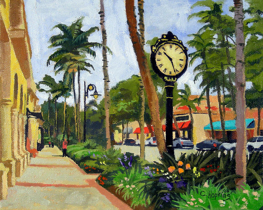 Christine Hopkins Painting - 5th Avenue Naples Florida by Christine Hopkins