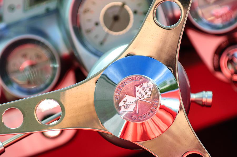 Chevrolet Corvette Emblem Photograph - 1960 Chevrolet Corvette Steering Wheel Emblem by Jill Reger
