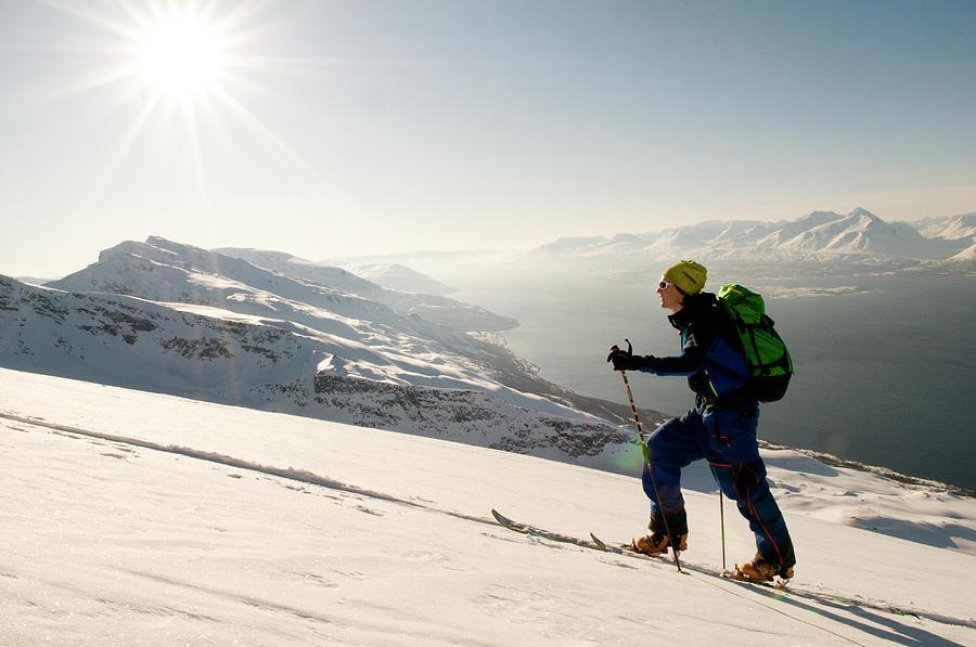 20s Photograph - A Norwegian Skier Climbs Above Lyngen 6 by Kari Medig