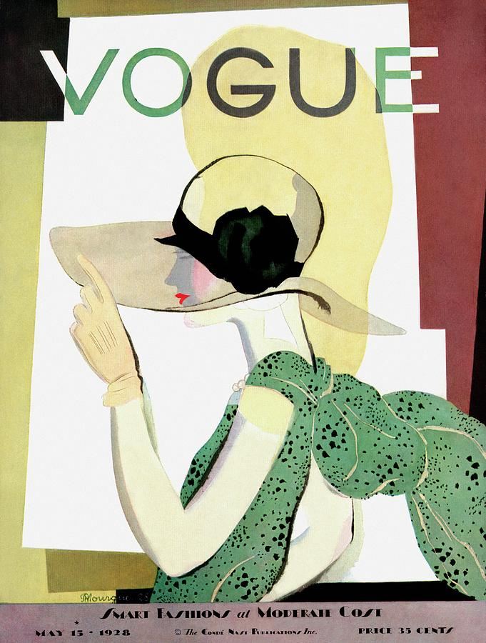 A Vintage Vogue Magazine Cover Of A Woman Photograph by Pierre Mourgue