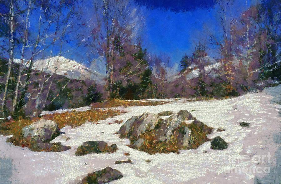 Abruzzo; Italy; Park; National; Nature; Mountain; Snow; Forest; Natural; Natural Environment; Natural World; Landscape; Countryside; Scenery; Scenic; Rock; Winter; Leaf; Leaves; Paint; Painting; Paintings Painting - Abruzzo National Park by George Atsametakis