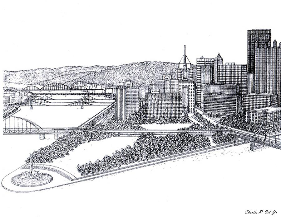 Architecture Drawing - City of Pittsburgh by Charles Ott