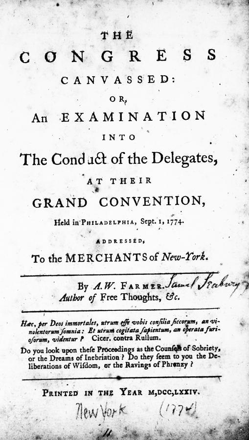 1774 Photograph - Continental Congress, 1774 by Granger