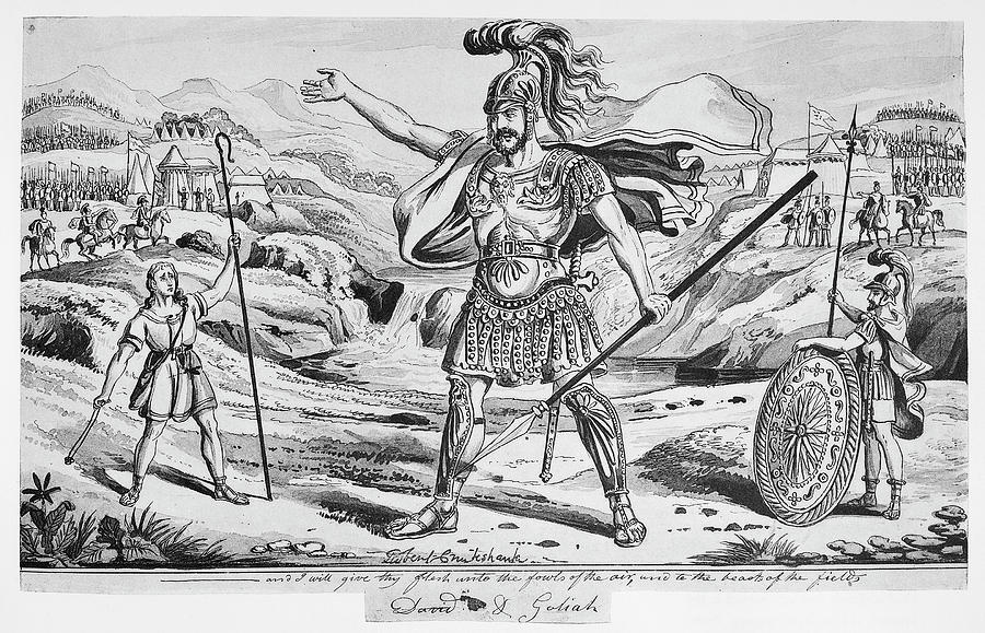 19th Century Drawing - David And Goliath by Granger