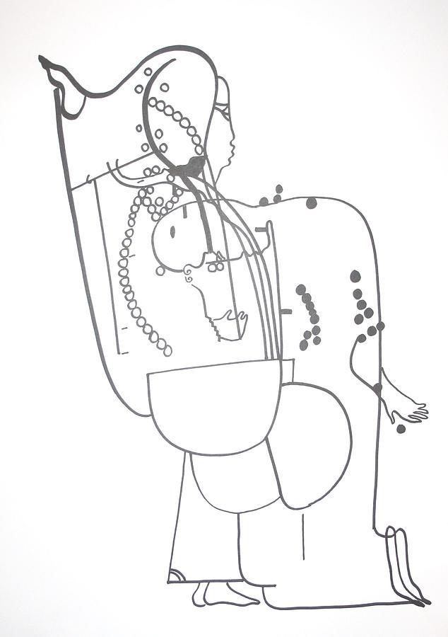 Jesus Drawing - Dinka Embrace by Gloria Ssali