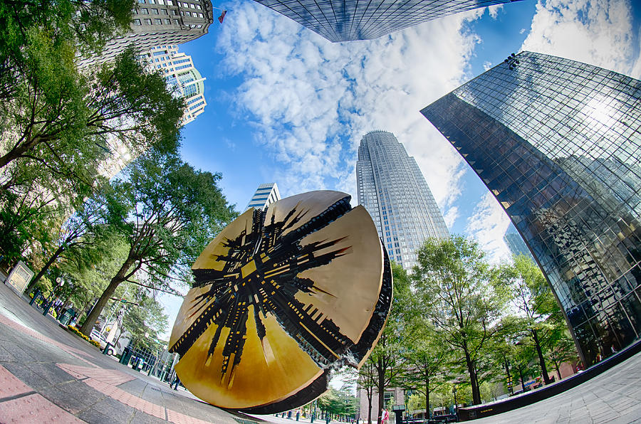 Abstract Photograph - Financial Skyscraper Buildings In Charlotte North Carolina Usa by Alex Grichenko