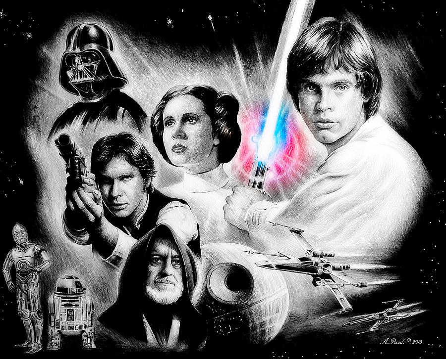 Star Wars Drawing - May The Force Be With You by Andrew Read