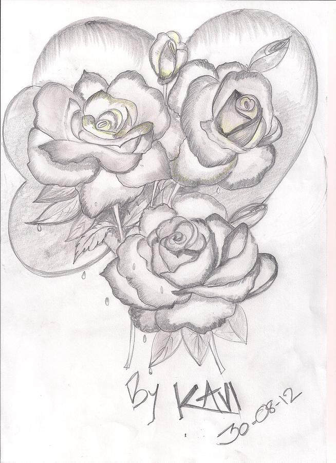 Flowers Drawing - My Drawing by Kaveind Kavi Mk