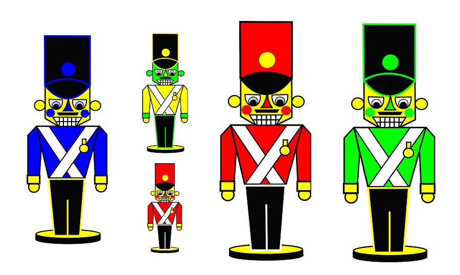 6 Nutcracker Soldiers On Black Digital Art - 6 Nutcracker Soldiers On Black by Asbjorn Lonvig