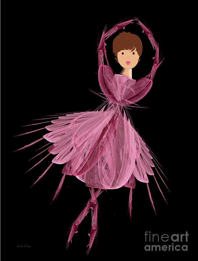 Ballerina Digital Art - 6 Pink Ballerina by Andee Design
