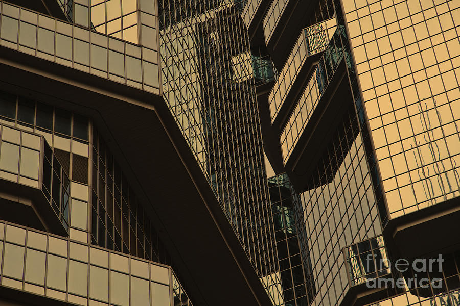 Abstract Photograph - Skyscraper Windows Background In Hong Kong  by IB Photography