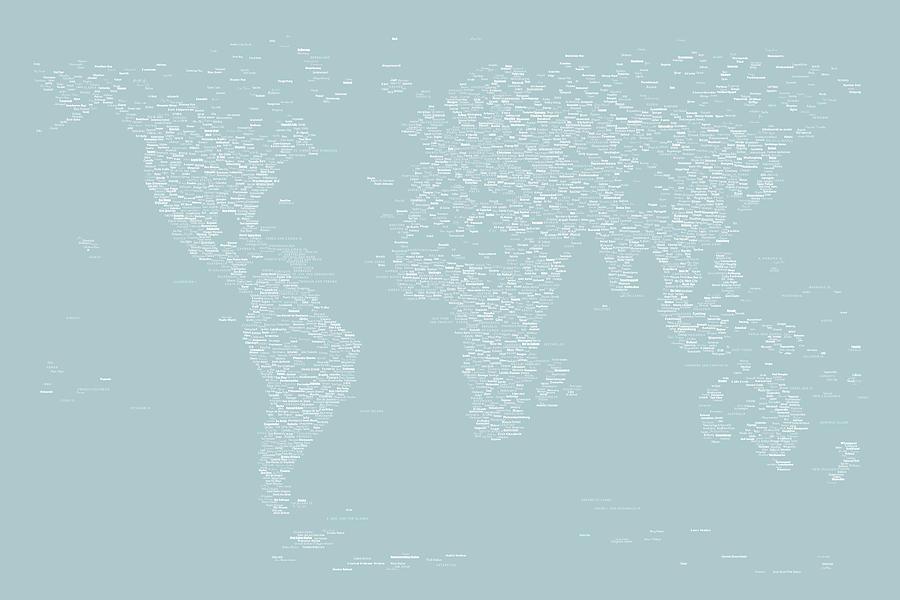 Map Of The World Digital Art - World Map Of Cities by Michael Tompsett