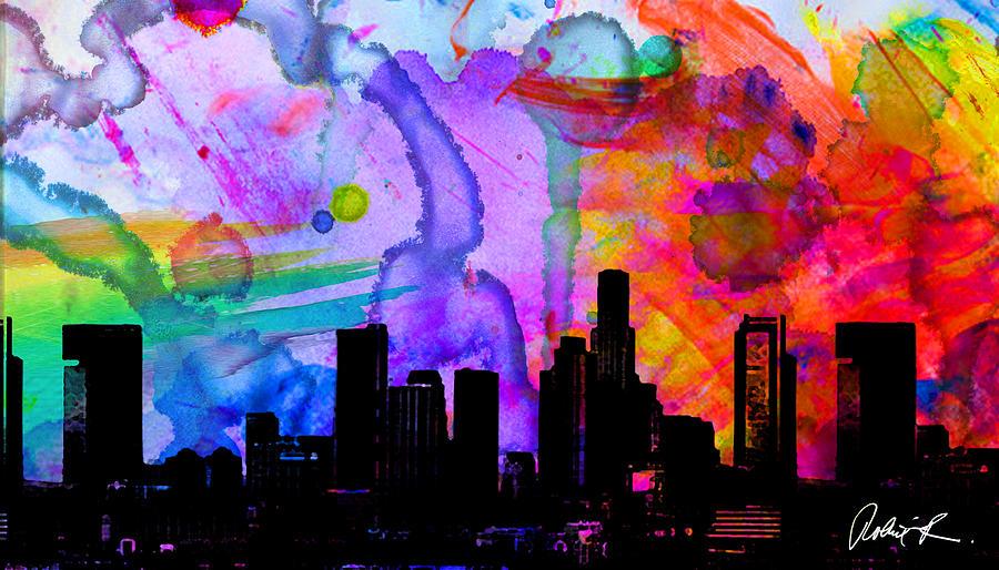 60x34 Panoramic Watercolor Skyline Www Splashyartist Com