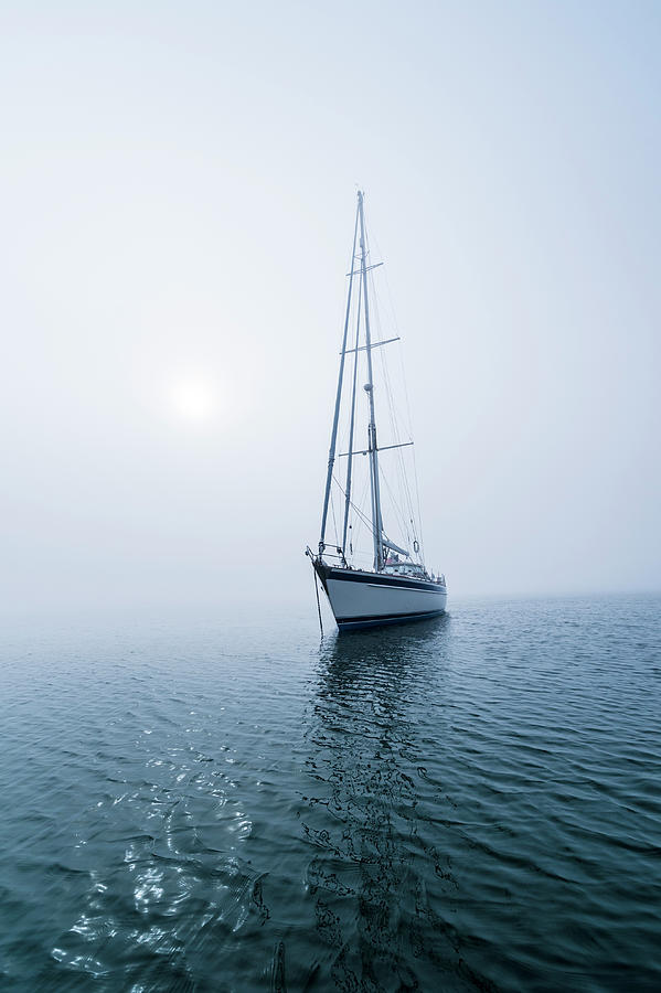 62 Ft Sailboat Anchored In Fog Off Photograph by Gary S Chapman