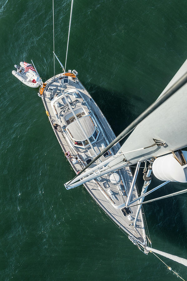 62ft Sailboat At Anchor From Top Of Mast Photograph by Gary S Chapman