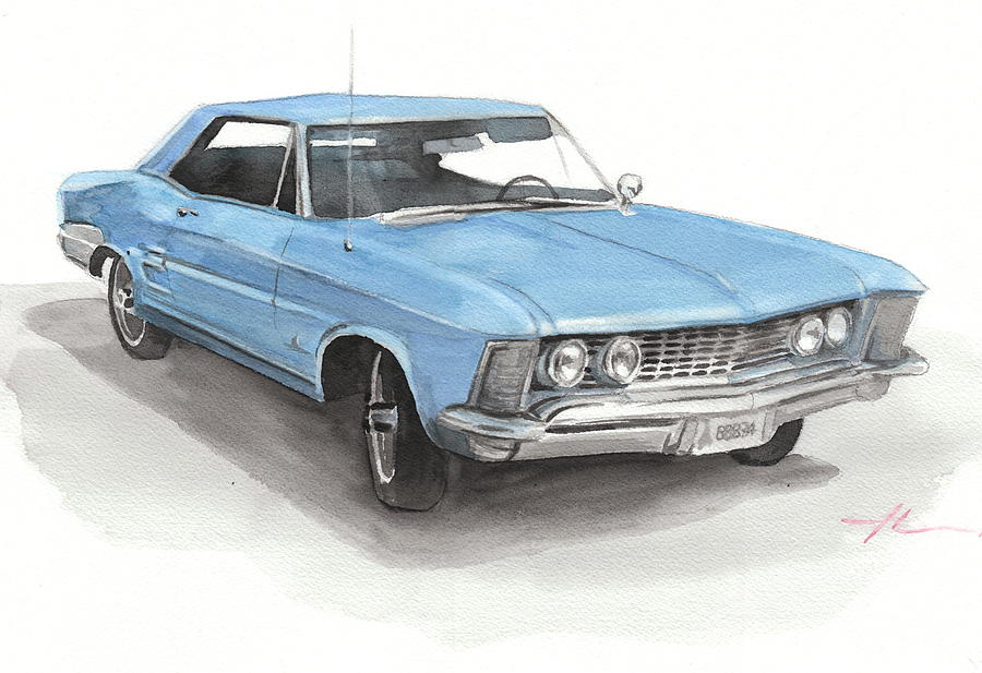 63 Buick Riviera Watercolor Portrait Drawing by Mike Theuer